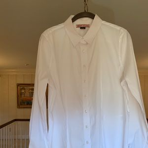 DKNY Thomas PINK Fitted Waist White Blouse sz12